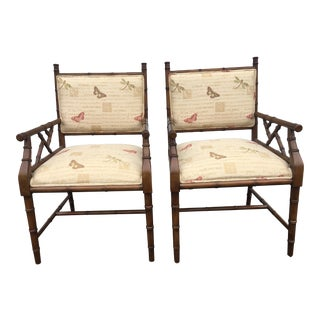 Modern Faux Bamboo Wood Arm Chairs - a Pair For Sale