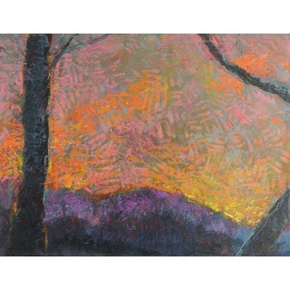 Abstract Mountain Sunset Landscape Painting For Sale