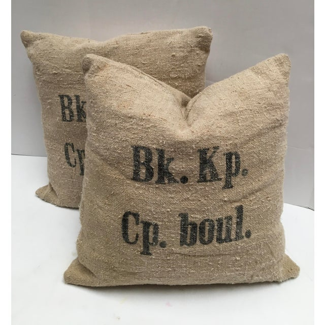 White Custom Swiss 1943 Grain Sack Pillows -- a Pair For Sale - Image 8 of 8