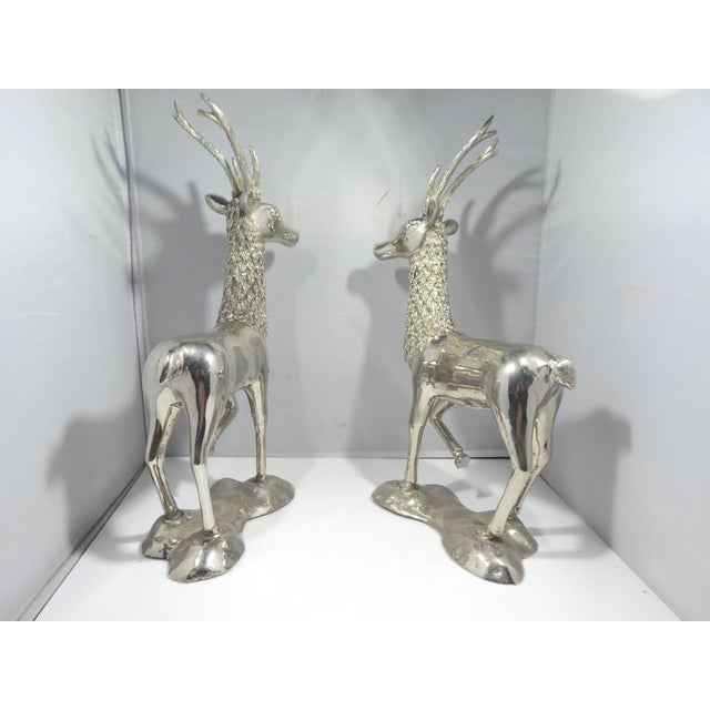 Metal Miniature Silvered Brass Deer Figurines - a Pair For Sale - Image 7 of 12
