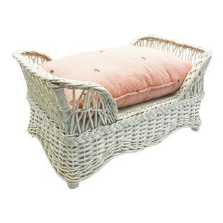 Vintage White Wicker Small Dog Bed With Cushion For Sale