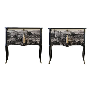 Gustavian Commodes With 17th Century Print - a Pair For Sale