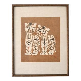 1950s Mid-Century Signed Japanese Toshijiro Inagaki Tigers Woodblock Print