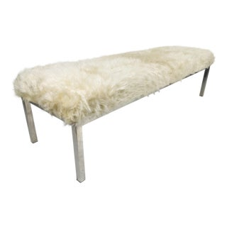 Modern Chrome & Faux Lambswool Fur Bench For Sale