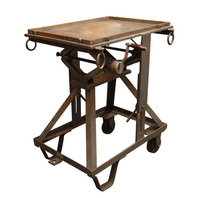 An Iron Adjustable Industrial Scissor Table For Sale - Image 9 of 9