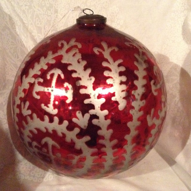 Boho Chic Red & Mercury Silver Oversized Ornament For Sale - Image 3 of 3