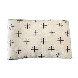 """Mud Cloth Bogolan Black & White Lumbar Pillow African Mali 20"""" by 13"""" For Sale"""