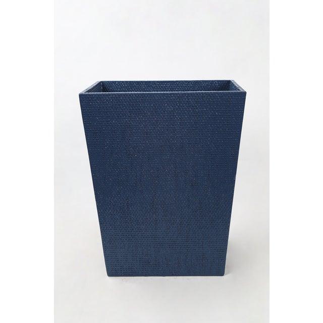 Textile Blue Linen Covered Waste Basket For Sale - Image 7 of 7