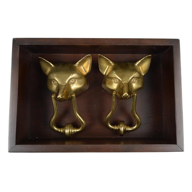 Vintage Bronze Fox Heads Door Knockers- A Pair For Sale - Image 5 of 11