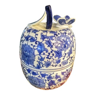 A Huge Blue and White Chinoiserie Ceramic Apple Jar Container For Sale