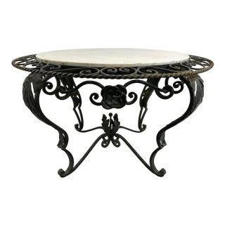 French Art Deco Wrought Iron and Marble Coffee Table For Sale