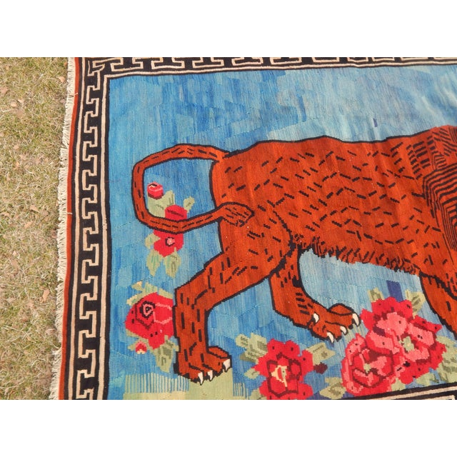 Boho Chic Vintage Gabbeh Lion Kilim Rug - 5'1'' X 7'3'' For Sale - Image 3 of 13