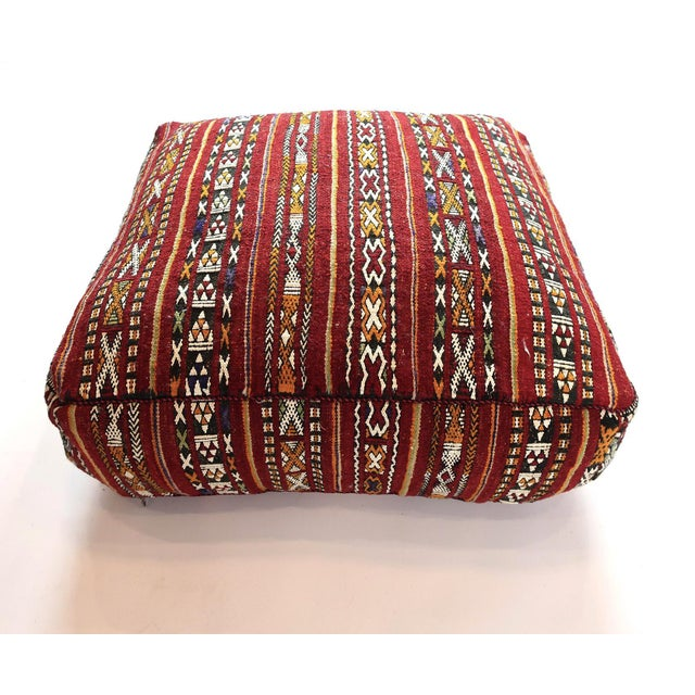 Vintage Moroccan Textile Floor Cushion For Sale In New York - Image 6 of 6