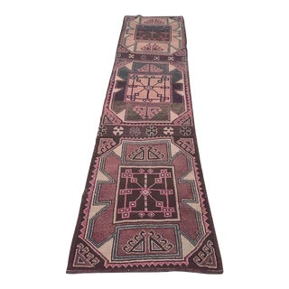 Turkish Pinks, Purples and Navy Oushak Runner Rug - 10′9″ × 2′9″ For Sale