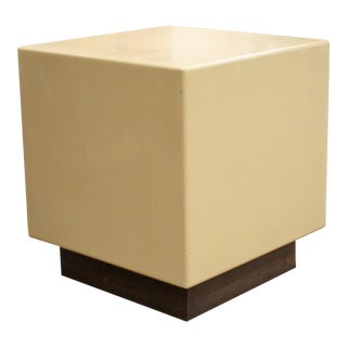 Mid Century Modern Acrylic Metro Cube Side End Table on Plinth Base For Sale
