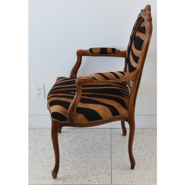 1950s Carved Hardwood & Tiger Cowhide Upholstered Armchair For Sale In Los Angeles - Image 6 of 13