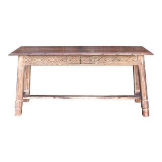 Liming Hand Carved Tavern Table For Sale