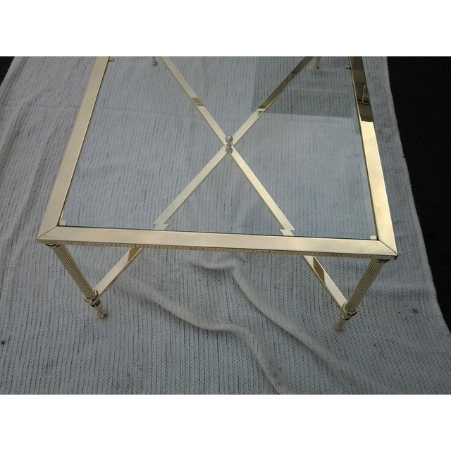Mid-Century French Brass and Glass Coffee Table - Image 5 of 8
