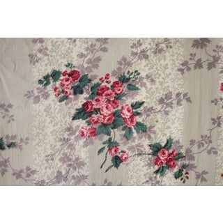 French Fabric Floral 1860 Purple And Pink Striped Rose Bud Design For Sale