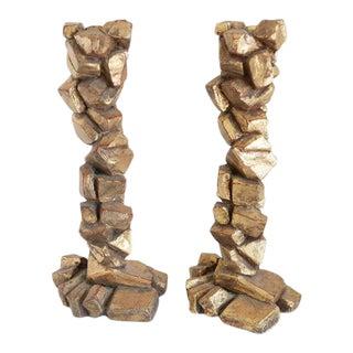 Sculptural Candlesticks Attributed to Marco De Gueltz - a Pair For Sale