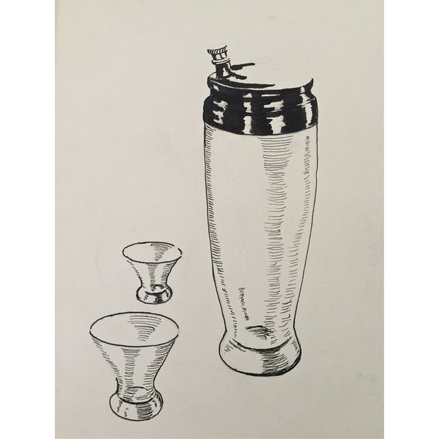 Mid Century Cocktail Shaker Pen & Ink Drawing - Image 4 of 4