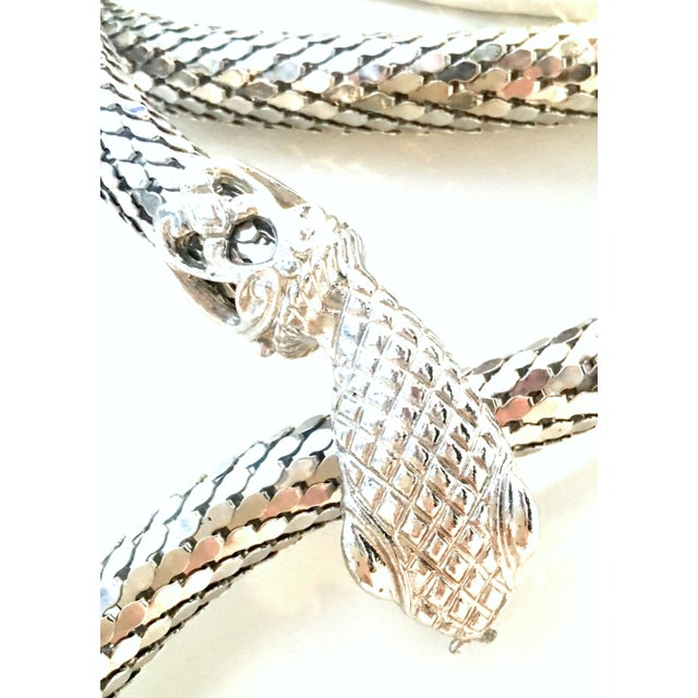 70's Silver Metal Mesh Coil Snake Whiting & Davis Necklace For Sale In West Palm - Image 6 of 10