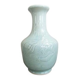 Chinoiserie Celedon Vase For Sale