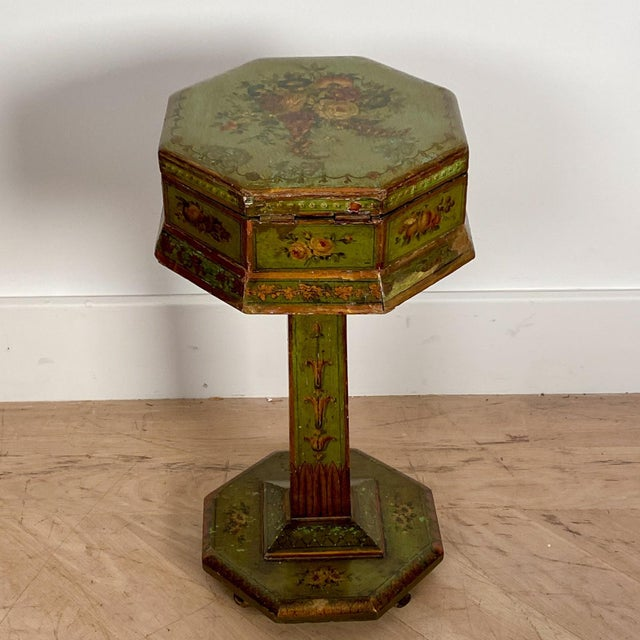 Wood English Regency Painted Sewing Box, Circa 1810 For Sale - Image 7 of 8