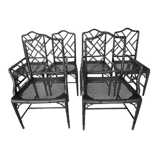 Vintage Wood Chippendale Chairs - Set of 6 For Sale
