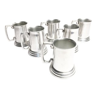 Mid-Century Aluminum & Glass Beer Steins - Set of 6