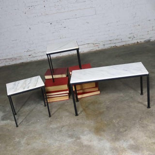 Trio of Small Black Iron Frame White Marble Topped Tables for Indoors or Out Preview
