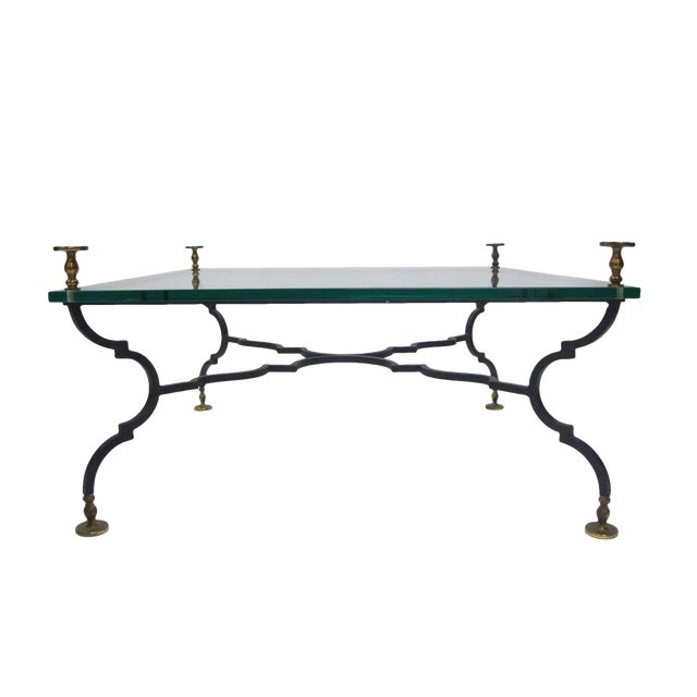 Heavy French Decorative Coffee Table Attributed to Gilbert Poillerat For Sale