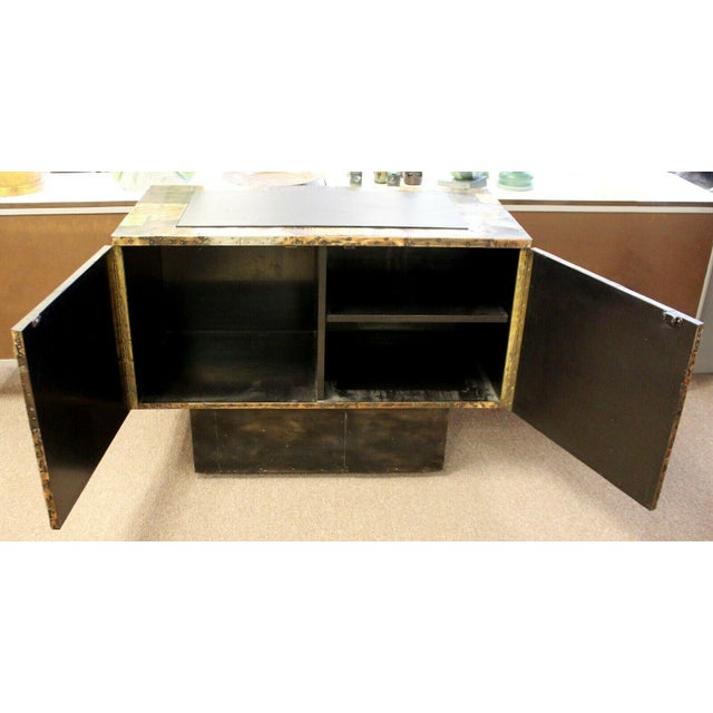 Metal Mid Century Modern Paul Evans Directional Slate Top Copper Patchwork Cabinet 1960s For Sale - Image 7 of 12