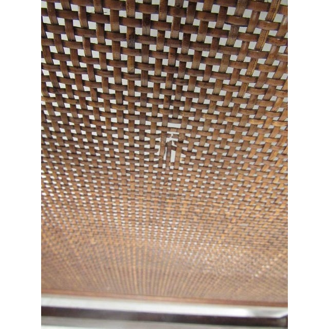 Mid-Century Cane and Chrome Twin Size Headboards - A Pair - Image 5 of 10