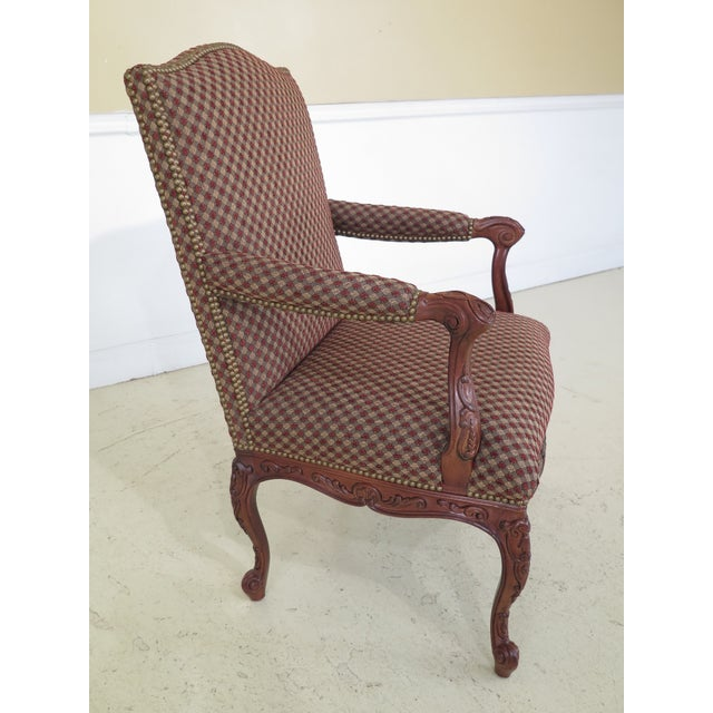 Sherrill Furniture Sherrill French Louis XV Style Upholstered Arm Chair For Sale - Image 4 of 13