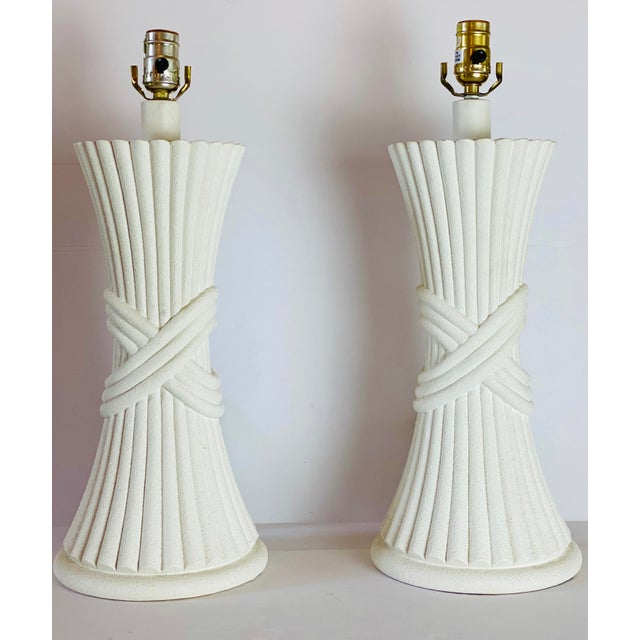 White 1970s Sculptural Plaster White Table Lamps - a Pair For Sale - Image 8 of 8