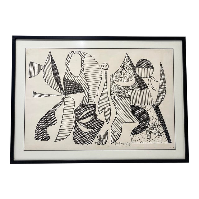Mid-Century Modern 1969 Series III Pen-Ink Abstract Painting by Listed Artist Rene Marcel Gruslin For Sale