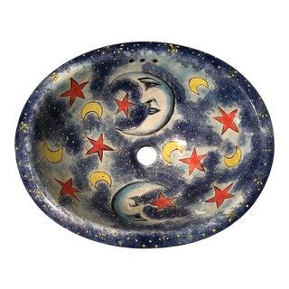 Mexican Glazed Porcelain Sink For Sale