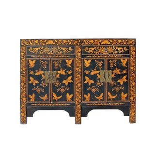 Chinese Black Golden Butterflies Oriental Graphic Side Table Cabinet For Sale