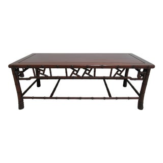 Vintage Chinese Chippendale Rosewood Faux Bamboo Coffee Table For Sale