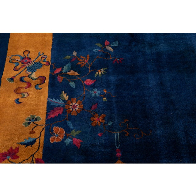 Blue Early 20th Century Antique Art Deco Chinese Wool Rug For Sale - Image 8 of 13
