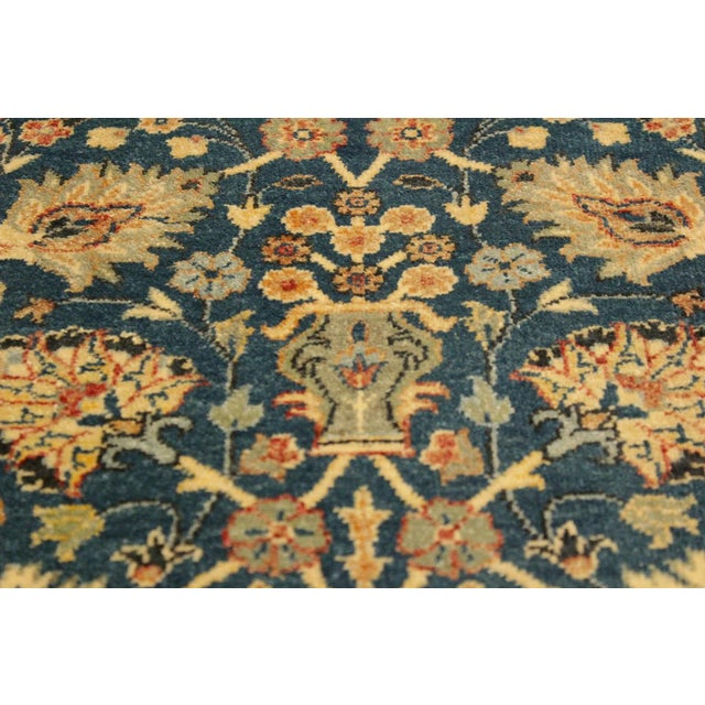 Contemporary Shabby Chic Istanbul Gilbert Teal/Ivory Turkish Hand-Knotted Rug -4'2 X 5'11 For Sale - Image 3 of 8