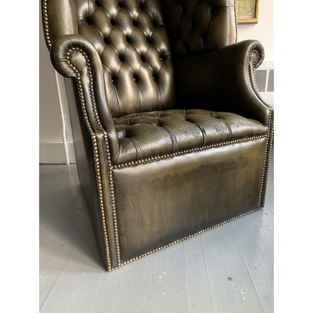 Leather Porters Chair For Sale - Image 9 of 11