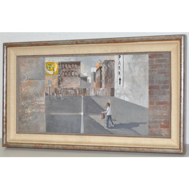 Inner City Basketball Court Oil Painting c.1970s For Sale - Image 4 of 9