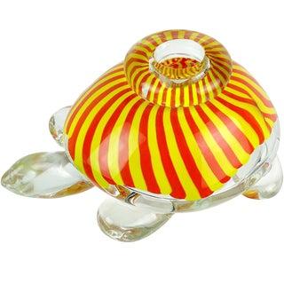 Seguso Viro Murano Yellow Orange Stripes Italian Art Glass Turtle Sculpture Vase For Sale