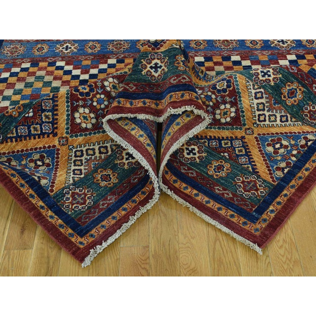 Kazak Khorjin Hand-Knotted Pure Wool Rug For Sale In New York - Image 6 of 13