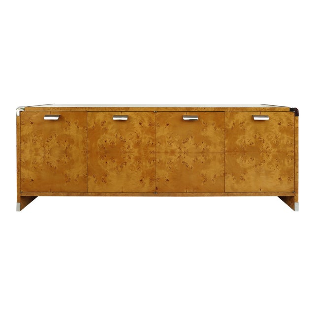 Leon Rosen Pace Collection Burlwood Credenza With Stainless Steel Accents For Sale