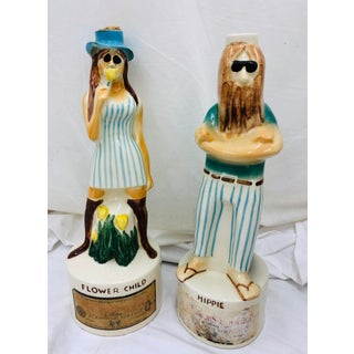 Pair Vintage Hippie & Flower Child Decanters Preview