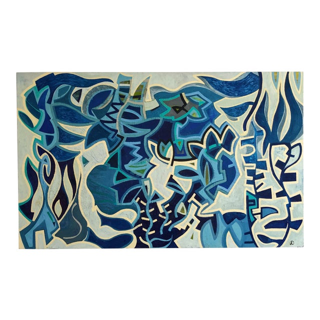 1980s Abstract Multi Blue Colored Oil on Canvas Painting For Sale