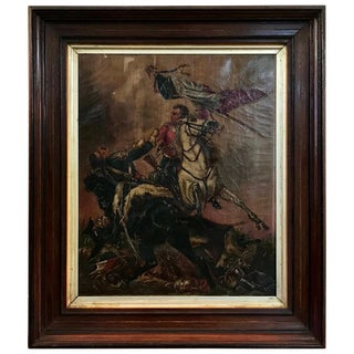 19th Century French Franco-Prussian War Oil Painting, Signed For Sale